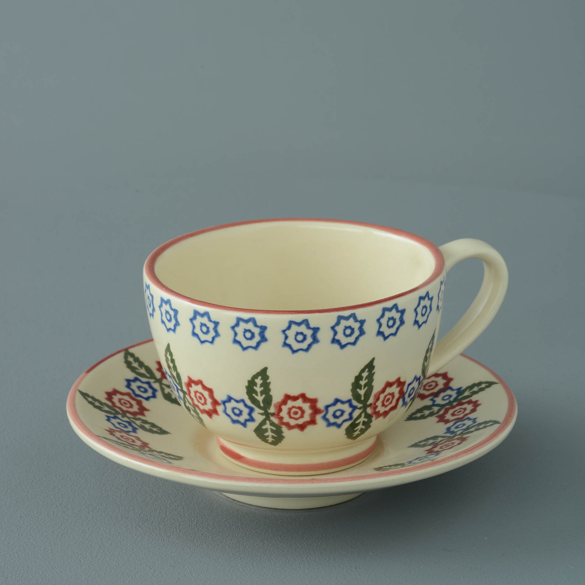 Victorian Floral Breakfast Cup and Saucer