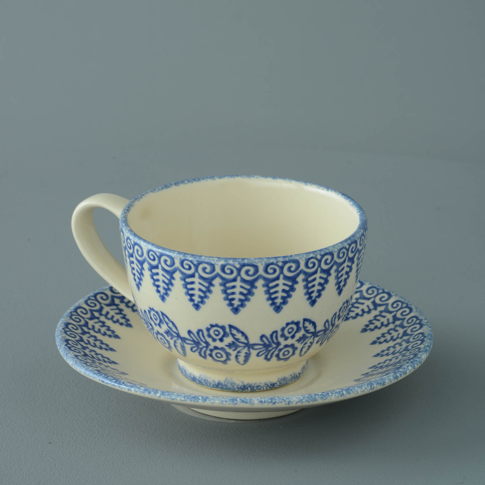 Lacey Blue Breakfast Cup and Saucer