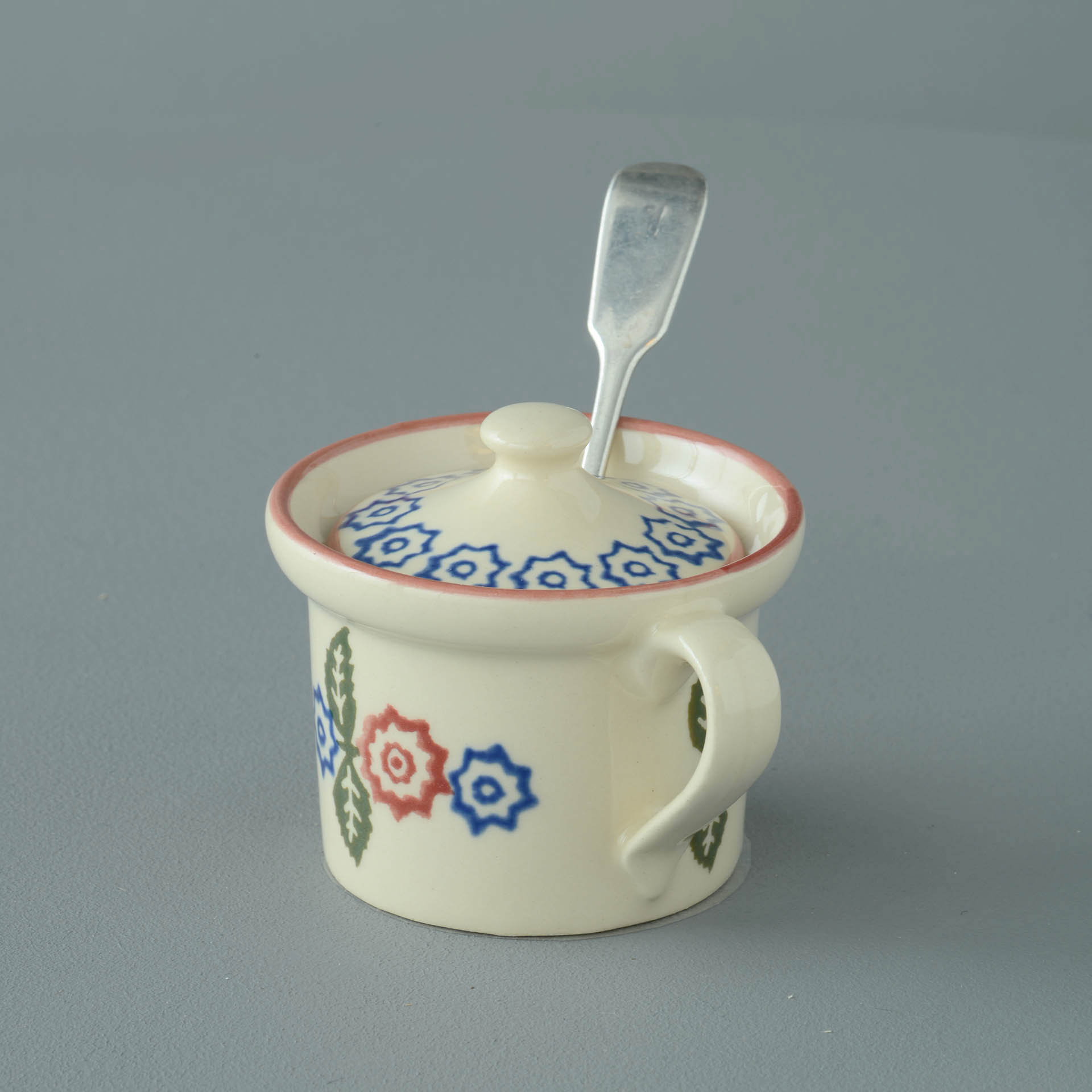 Victorian Floral Mustard Pot 7.8(w) x 5.4(h) cm