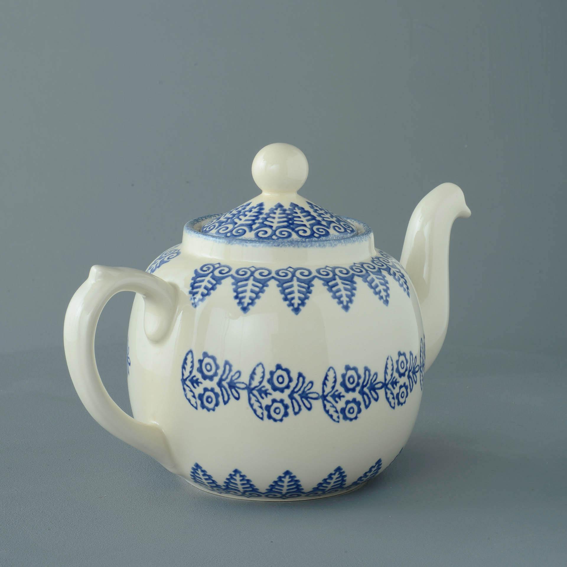 Teapot 10 Cup Lacey Blue Brixton Pottery