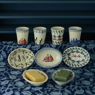 Brixton Pottery Bathroom Beaker, Soap Dish, Sailing Boat, Penguin