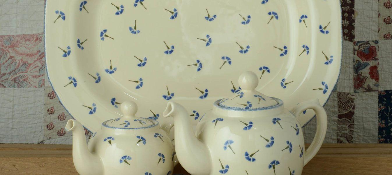 Spongeware pottery Cornflower