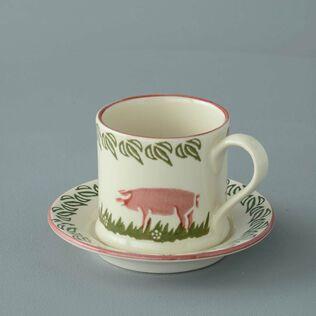 Mug & Saucer Small Pink Pig