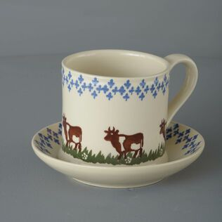 Snack Saucer & Mug Large Cow