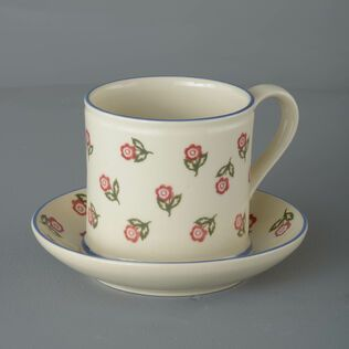 Snack Saucer & Mug Large Scattered Rose