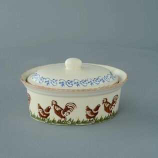 Butter dish oval Medium Cock & Hen