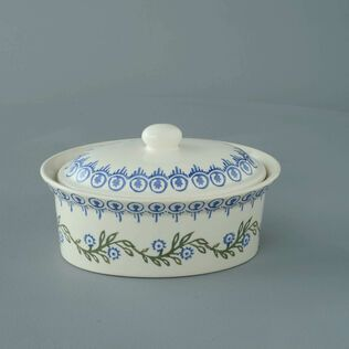 Butter dish oval Medium Floral Garland