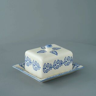 Cheese Dish Rectangular Medium Lacey Blue
