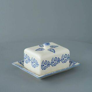 Cheese Dish Rectangular Medium Lacey Blue