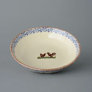 Serving Dish Round Large Cock & Hen