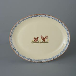Oval Plate  Cock & Hen