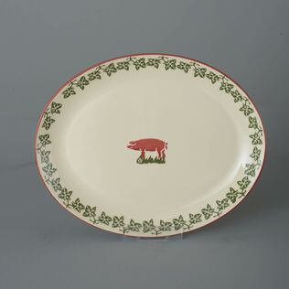 Oval Plate  Pink Pig