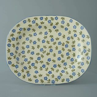 Plate Large rectangular serving Geranium