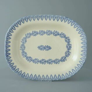 Plate Large rectangular serving Lacey Blue
