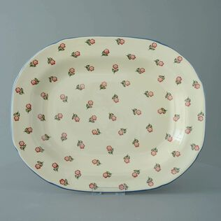 Plate Large rectangular serving Scattered Rose