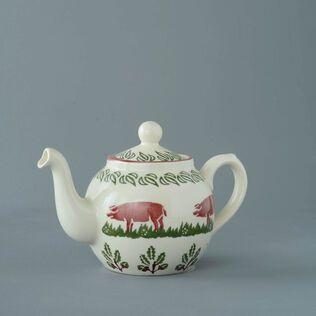 Teapot 2 Cup Pink Pig