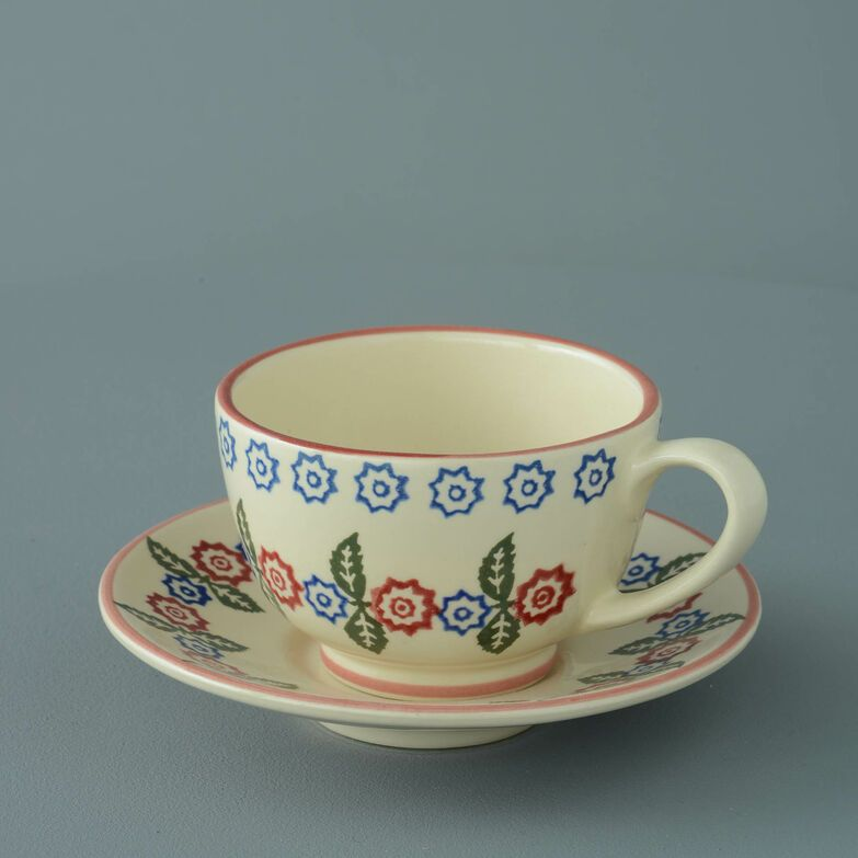 Cup & Saucer Breakfast Size Victorian Floral