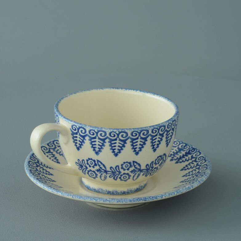 Cup & Saucer Breakfast Size Lacey Blue