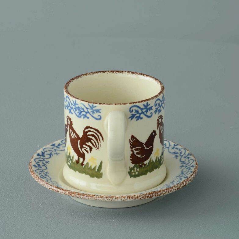 Mug & Saucer Small Cock & Hen