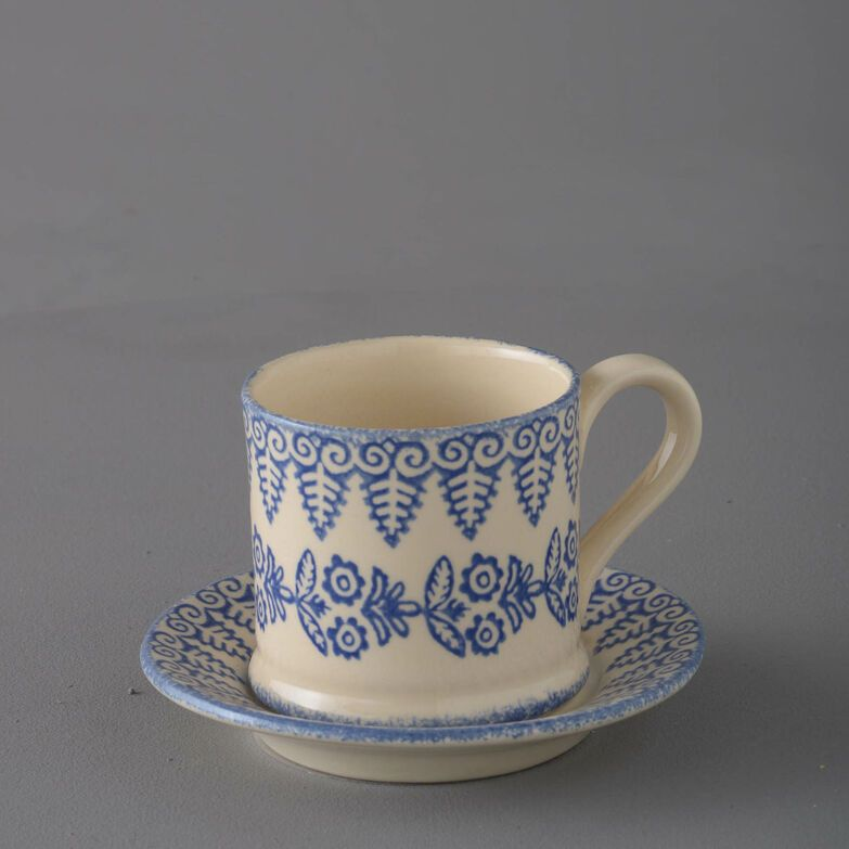 Mug & Saucer Small Lacey Blue