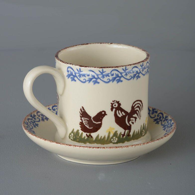 Snack Saucer & Mug Large Cock & Hen