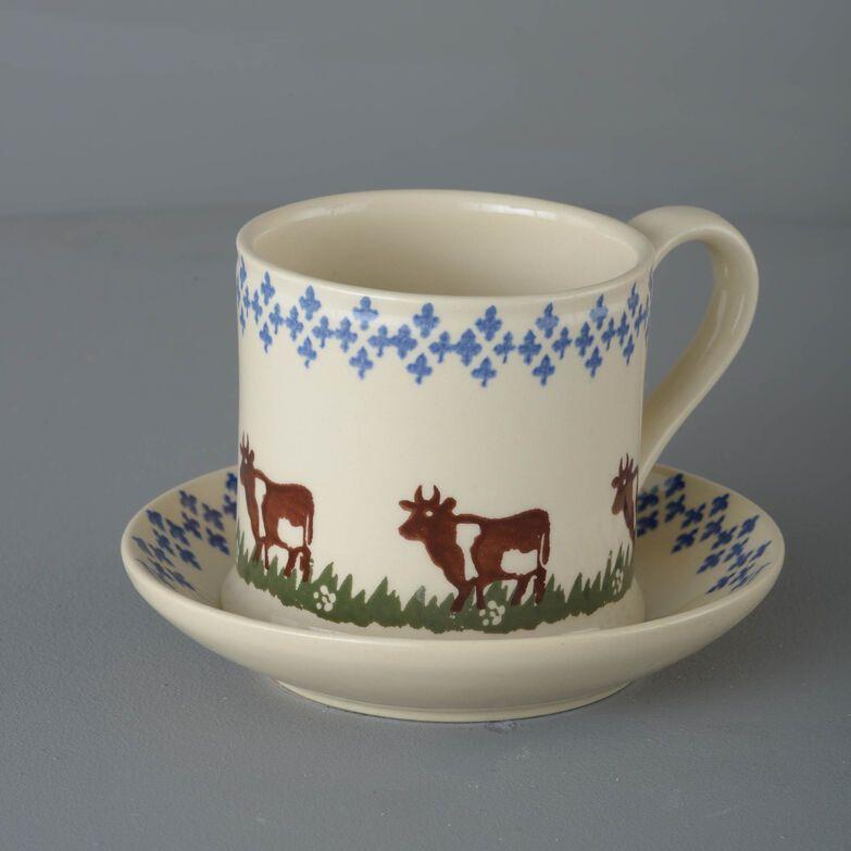 Snack Saucer & Mug Large Cow