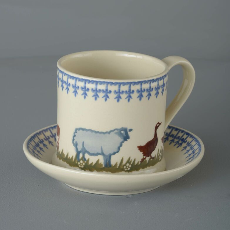 Snack Saucer & Mug Large Farm Animal