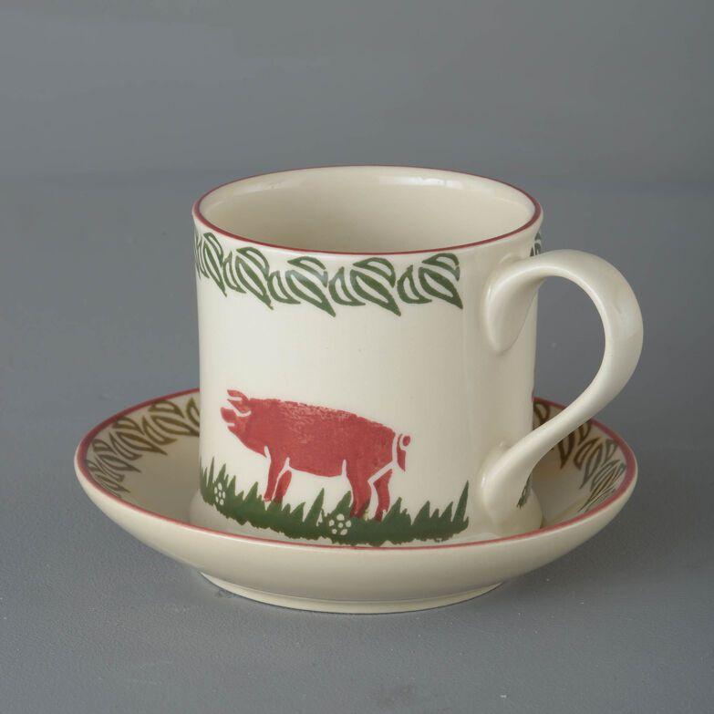 Snack Saucer & Mug Large Pink Pig