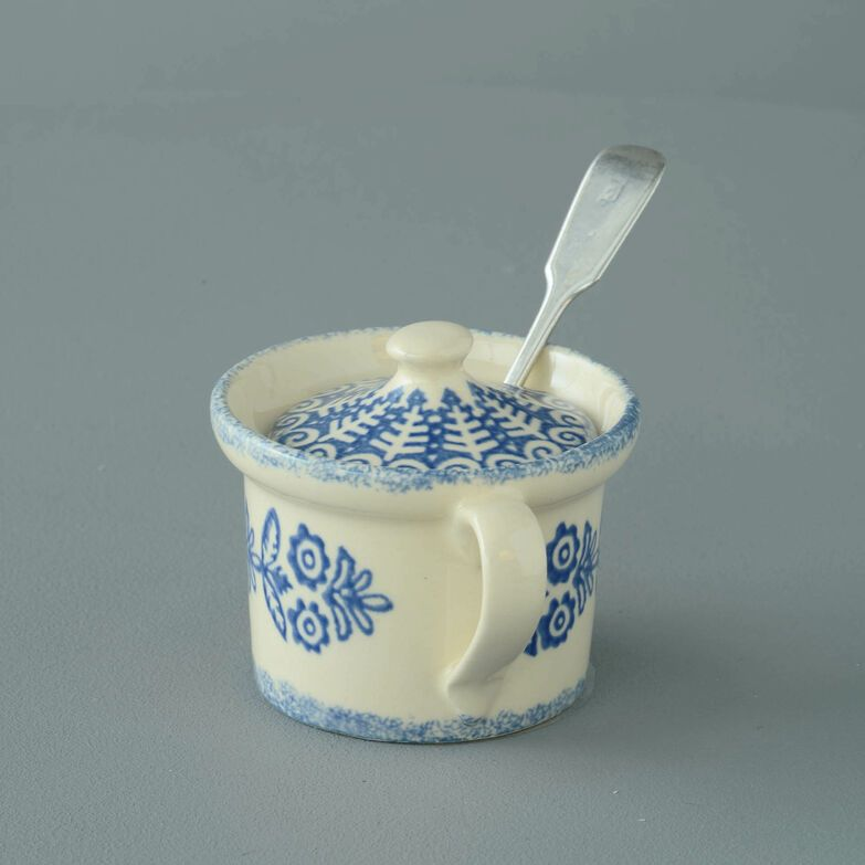 Mustard Pot Small Lacey Blue