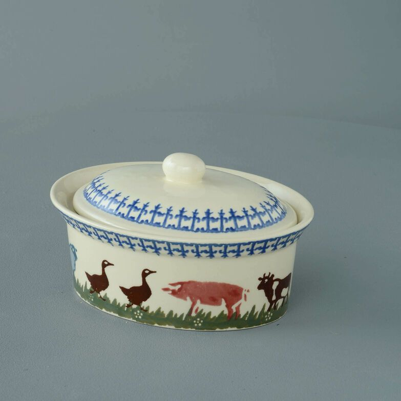Butter dish oval Medium Farm Animal