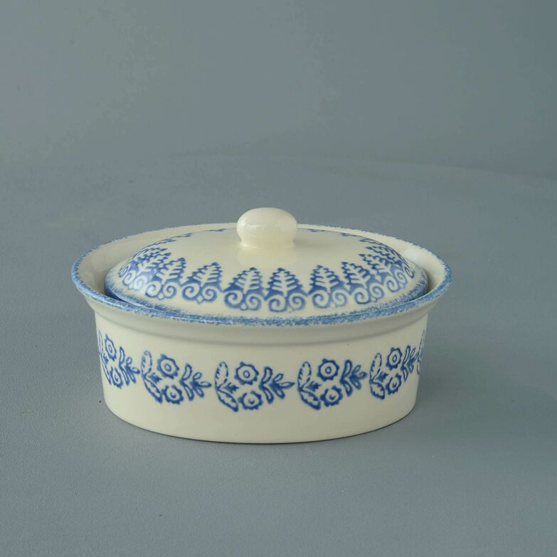 Butter dish oval Medium Lacey Blue
