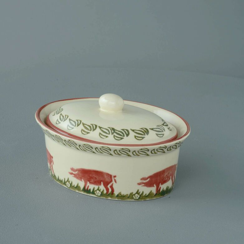 Butter dish oval Medium Pink Pig