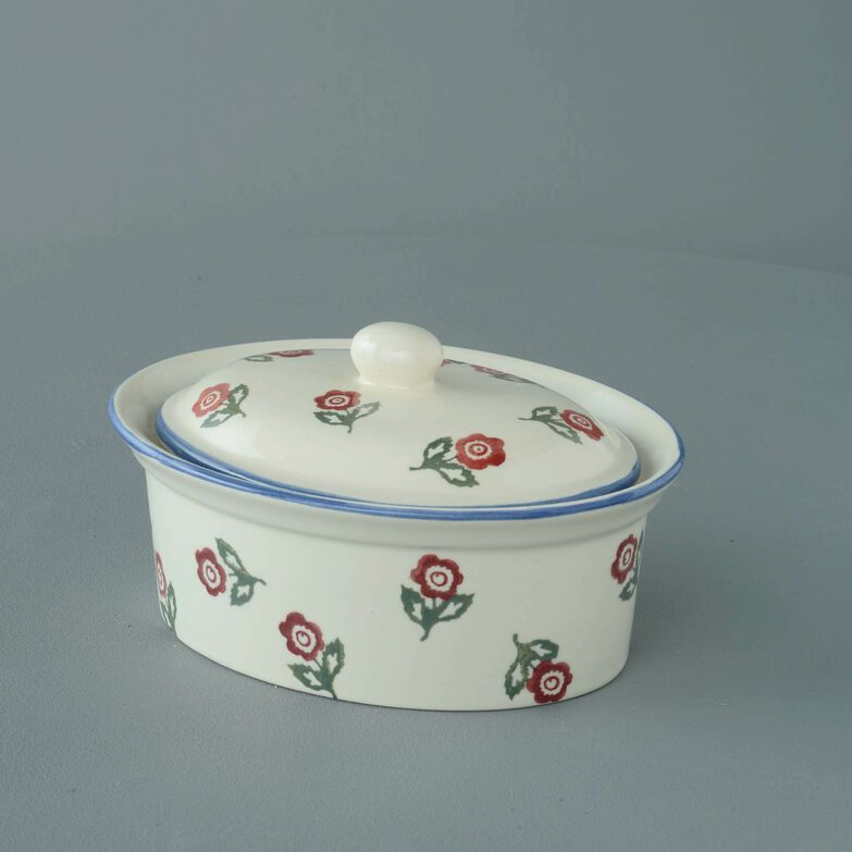 Butter dish oval Medium Scattered Rose
