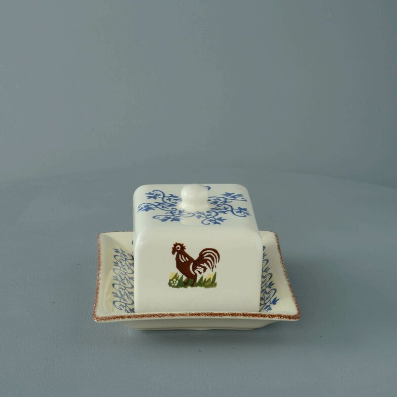 Cheese Dish Rectangular Medium Cock & Hen